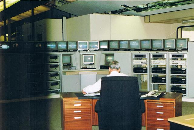 Front view of the Headend. Each cabinet was filled with equipment.